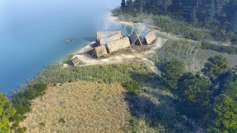 Lac de Paladru film 3D restitution du village néolithique des Baigneurs